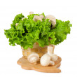Fresh mushrooms in a basket on the kitchen — Stock Photo