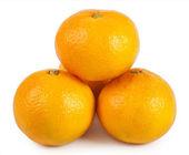 Три Оранжевый мандарин — Стоковое фото