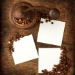 Three square sheet on a wooden background — Stock Photo