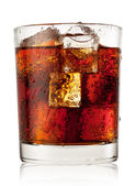 Round glass of cola with ice — Stock Photo