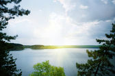 Blue lake between the trees — Stock Photo