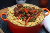 Beef Stew with Egg Noodles — Stock Photo