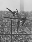 Gymnastic competition at the Olympics — Stock Photo