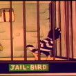 Stock Video: Cartoon jail bird