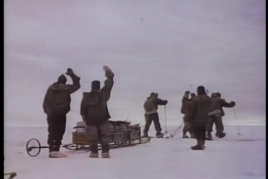 Rear view of men setting off on an arctic expedition — Stock Video