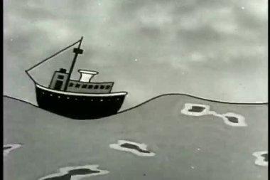 Nave rebotar ondas — Vídeo de stock