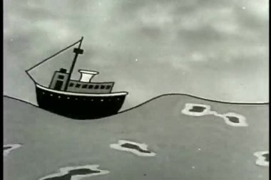 Ship bouncing off waves — Vídeo Stock