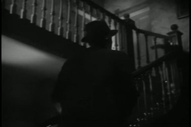 Rear view man walking up staircase — Vídeo Stock