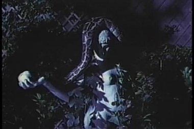 удав, сбивая рука статуи — Стоковое видео