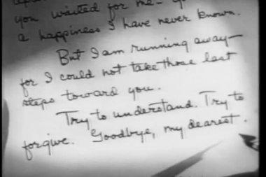 Close-up of hand writing 'Dear John' letter then crumpling it up — Stock Video