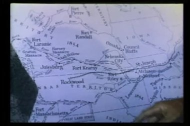 Close-up of hand pointing to 1854 map — Stock Video