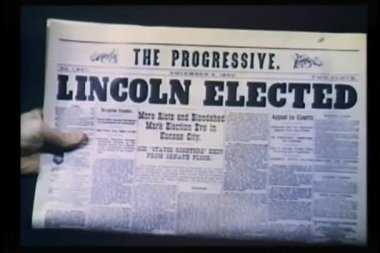 Newspaper headline - Lincoln Elected — Stock Video