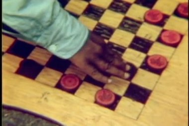 Close-up of hands playing checkers — Stock Video