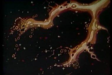 Cartoon van de fonkelende sterren in de hemel ondergaan transformatie — Stockvideo