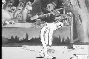 Cartoon van een skelet cirkelen een break dancing spook — Stockvideo