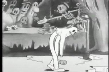 Kreskówka szkielet krąży duch break dancing — Wideo stockowe