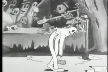 Kreslený kostra krouží duch break dance — Stock video