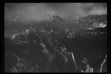 Historical reenactment World War I battle montage — Stock Video