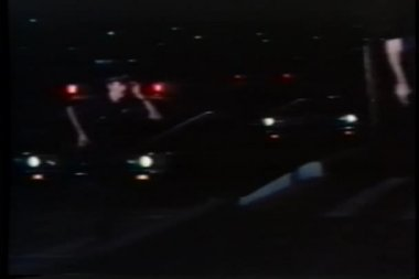 Police arriving at crime scene at night — Stock Video