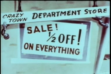 Cartoon of department store half off sale sign — Stock Video