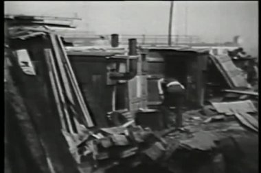 Shanty town, 1930s — Stock Video