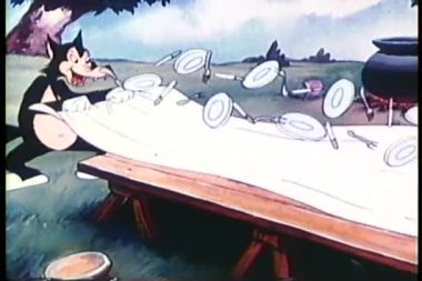 Cartoon of wolves preparing for a picnic — Stock Video