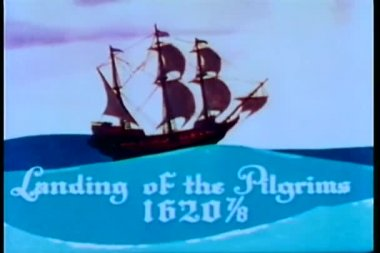 The Mayflower sailing on the ocean — Stock Video