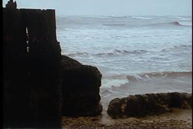 Panning seashore on gloomy day — Stock Video