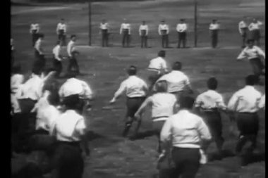 Montage - schoolboys playing rugby — Stock Video