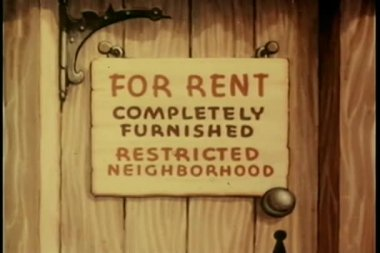 Cartoon of close-up of for rent sign — Stock Video
