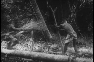 Nativos preparando a fogueira para assar o homem — Vídeo stock