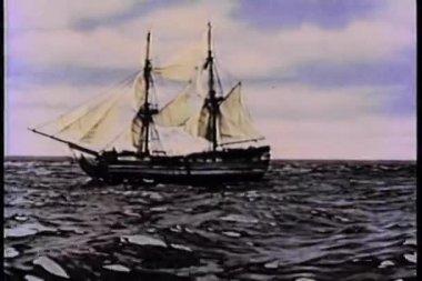 Del siglo xix de la nave en el mar dejando caer ancla — Vídeo de stock