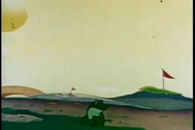 девочка и лягушка играть прыжок лягушки — Стоковое видео
