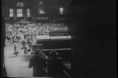 Aerial view of Grand Central Station in the 1940s — Stock Video