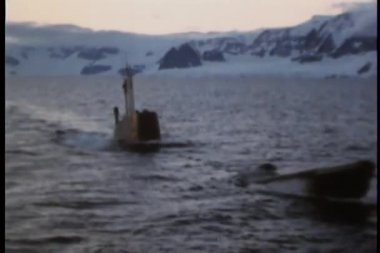 Submarine surfaces in arctic waters — Stock Video