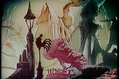 Cartoon of rollercoaster ride through fantasy world — Stock Video