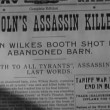 Close-up of newspaper headline Lincoln's Assassin Killed — Stok Video #26643211