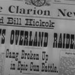 Close-up of newspaper headline Gang Broken Up in Epic Gun Battle — Video Stock