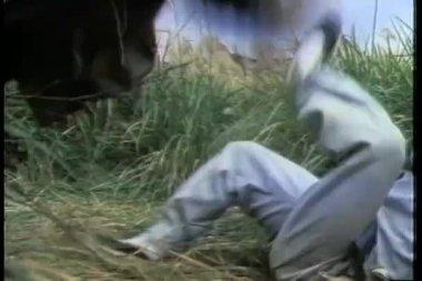 Medium shot of two men fighting in a field — Stock Video