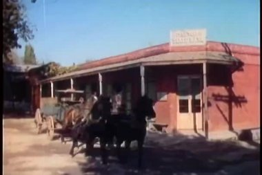 Man running out of bank and shooting at runaway horse carriage — Stock Video