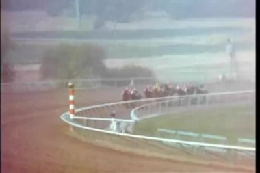 Zoom in to horses galloping on race track — Stock video
