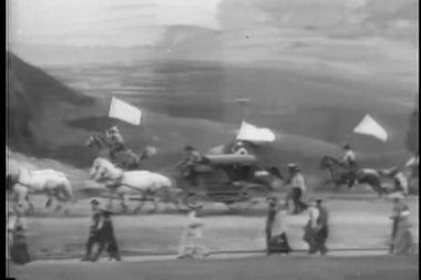 Theatrical set with western cavalcade — Stock Video