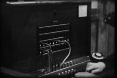 Close-up of switchboard operator connecting call — Stock Video
