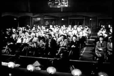 Wide shot of audience in theater waiting for show to begin — Stock Video