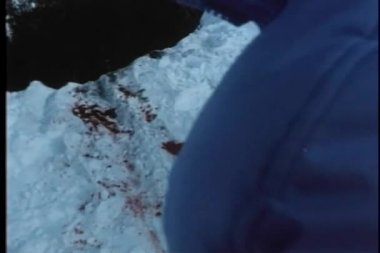 Point of view shot of bloodstains on a snowy cliff — Stock Video