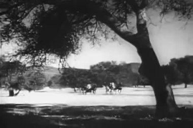 Two horse carriages racing on country road — Stock Video