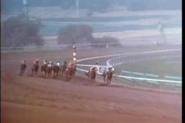 Two race horses breaking away from the pack to take the lead — Stock Video