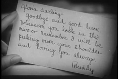 Close-up of goodbye note — Stock Video