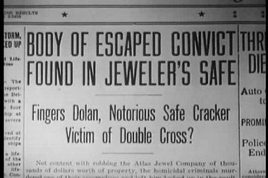 Close-up of newspaper headline — Stock Video