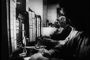 Group of working in telephone control room at police department — Stock Video